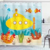 """Ambesonne Yellow Submarine Shower Curtain, Sea Life Theme with Submarine Fish and a Crab Illustration Print, Cloth Fabric Bathroom Decor Set with Hooks, 70"""" Long, Pale Blue"""