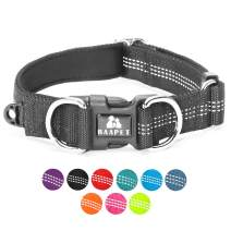 """BAAPET Comfortable Dog Collar with Double Security Dual D-Ring and ID Tag Hanger for Small Puppy, Medium and Large Dogs (XS - 3/4"""" x (9""""-12""""), Black)"""