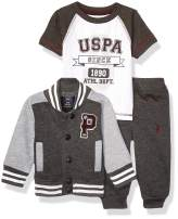 U.S. Polo Assn. Baby Boy's 3 Piece Fleece Jacket, Short Sleeve Tee and Pant Set Pants