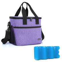 Yarwo Breast Milk Cooler Bag with Ice Pack for 6 Bottles up to 9 Ounce, Insulated Baby Bottles Tote Bag for Breastfeeding Mothers on The go, Purple