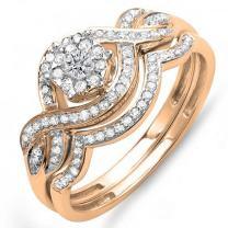 Dazzlingrock Collection 0.40 Carat (ctw) 14k Gold Round Diamond Ladies Bridal Ring Engagement Matching Band Set