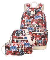 JiaYou Canvas Laptop Bag Shoulder Bag Pen Bag 14L School Backpack 3 Sets(StyleARed Owl,14L)