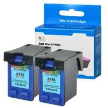 SuperInk 2PK High Capacity C9352CE Ink Remanufatured Compatible for HP 22 22XL Color Ink Cartridge DeskJet F2240 F2250 F2275 F2280 F2288 F2290 F4135 F4140 Printers