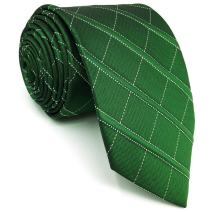 SHLAX&WING Silk Mens Tie Dark Green Checkes Neckties for Men Business Unique