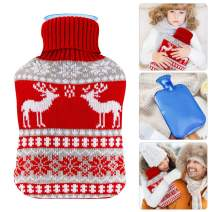 Hot Water Bottle with Knit Cover, UBEGOOD Rubber Transparent Hot Water Bag, Good for Pain Relief (2 Liters, Blue/Red)