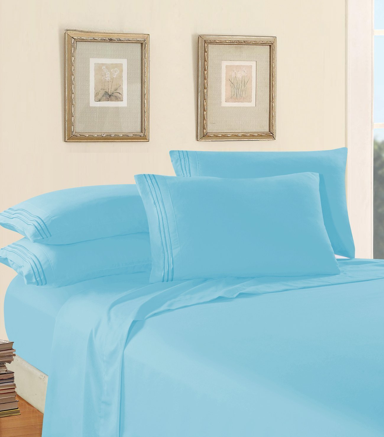 Luxury Bed Sheet Set on Amazon! Elegant Comfort Three-Line Design 1500 Thread Count Egyptian Quality Wrinkle and Fade Resistant 3-Piece Bed Sheet set, Deep Pocket, Twin/Twin XL, Aqua Blue