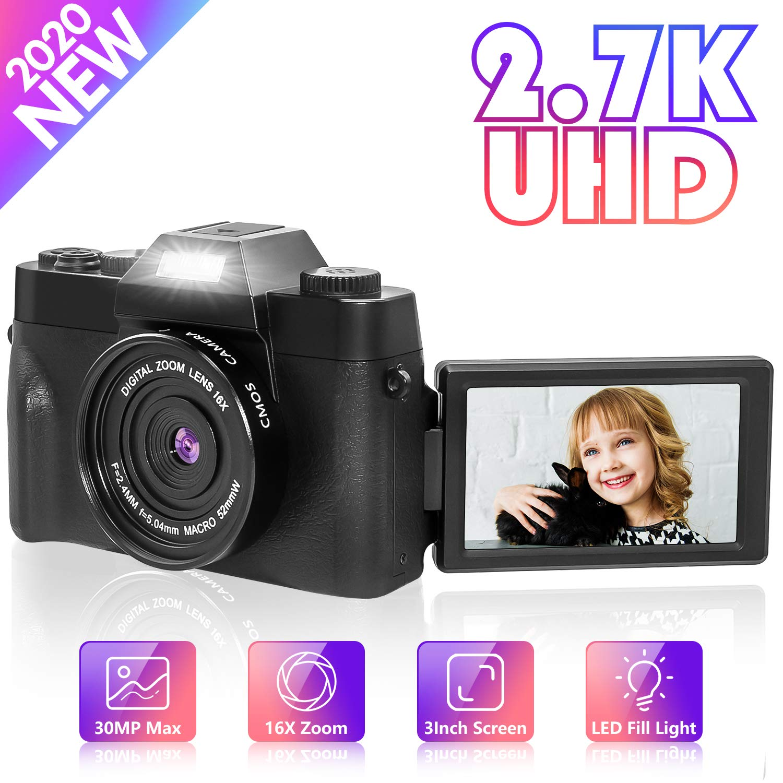 Digital Camera Vlogging Camera, Nycetek Video Camera for Vlogging and YouTube 30MP Ultra HD 2.7K 3.0 Inch 180 Degree Rotation Selfie Flash Light 16 Digital Zoom (Gathering/Travel/Selfie/Wedding)