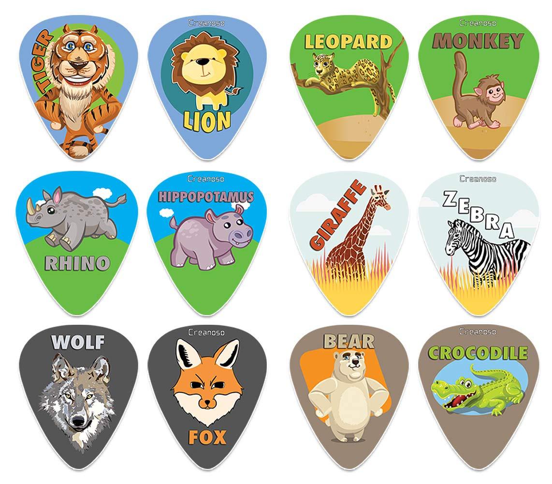 Creanoso Wild Animal Guitar Picks (12-Pack) - Premium Music Gifts & Guitar Accessories for Boys Son Men Him Husband Dad Boyfriend Musician Gift – Medium Gauge Celluloid - Fingerstyle Guitar Picks