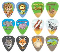 Creanoso Wild Animal Guitar Picks (12-Pack) - Premium Music Gifts & Guitar Accessories for Boys Son Men Him Husband Dad Boyfriend Musician Gift – Medium Gauge Celluloid - Fingerstyle Guitar Picks
