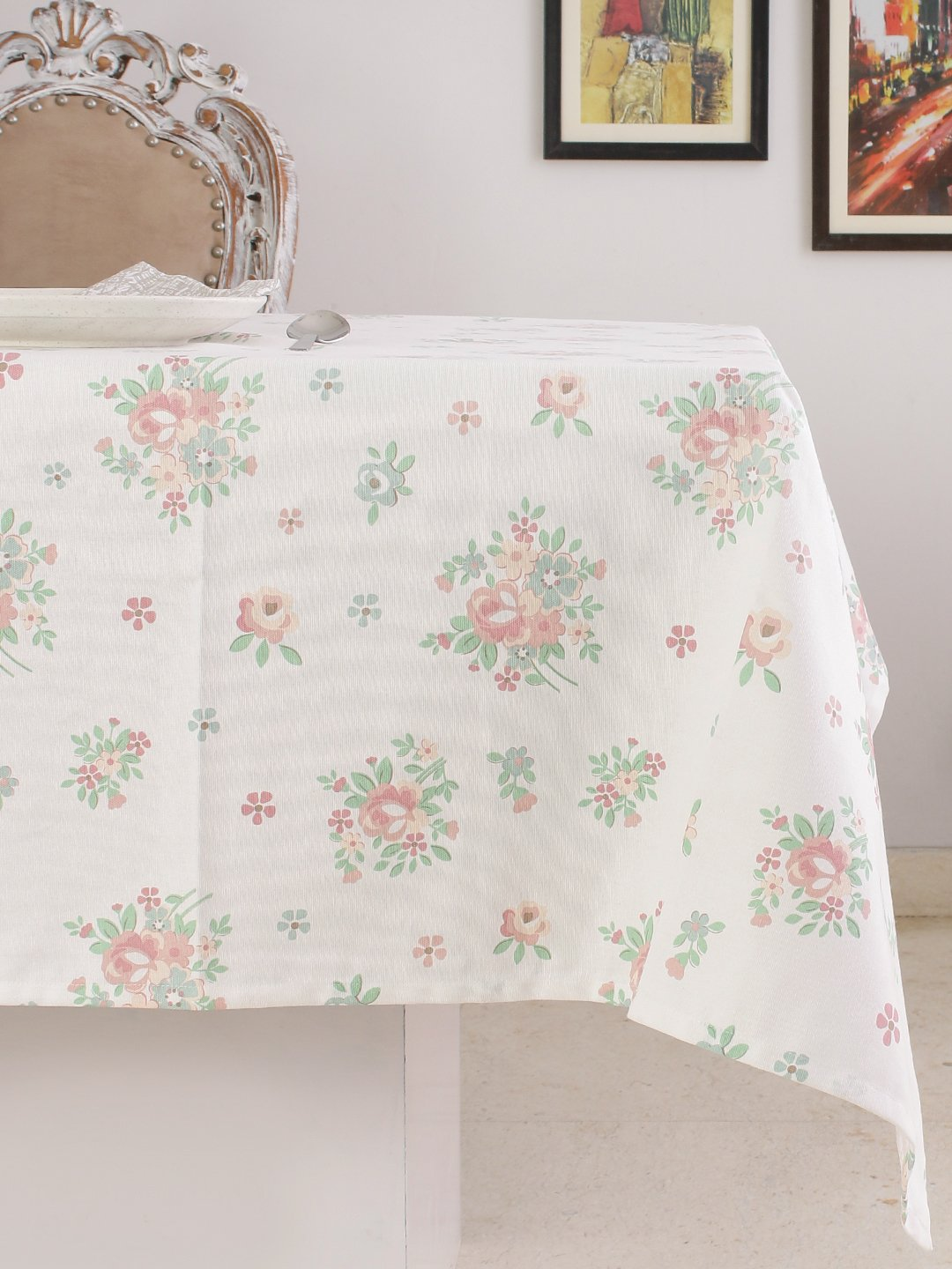 Table Cloth, 100% Cotton, Rectangular Table Cloth of Size 60X 102 Inch, Eco - Friendly & Safe, Pink English Flowers Design for Kitchen