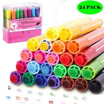 Magicdo Washable Markers for Kids Non Toxic Colored Stamp Marker Journaling Pens 24 Colors Markers Set Brush Paint Fun Art Crafts Supplies for Toddlers Preschoolers