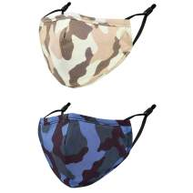 FENELY 2 PCS Fashion Face Mask for Adult Breathable Reusable Washable