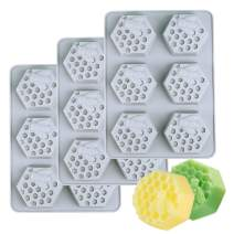 Kingrol 3-Pack 6 Cavities Silicone Soap Molds, FlexibleBaking, Ice Cube Tray, Easy Release