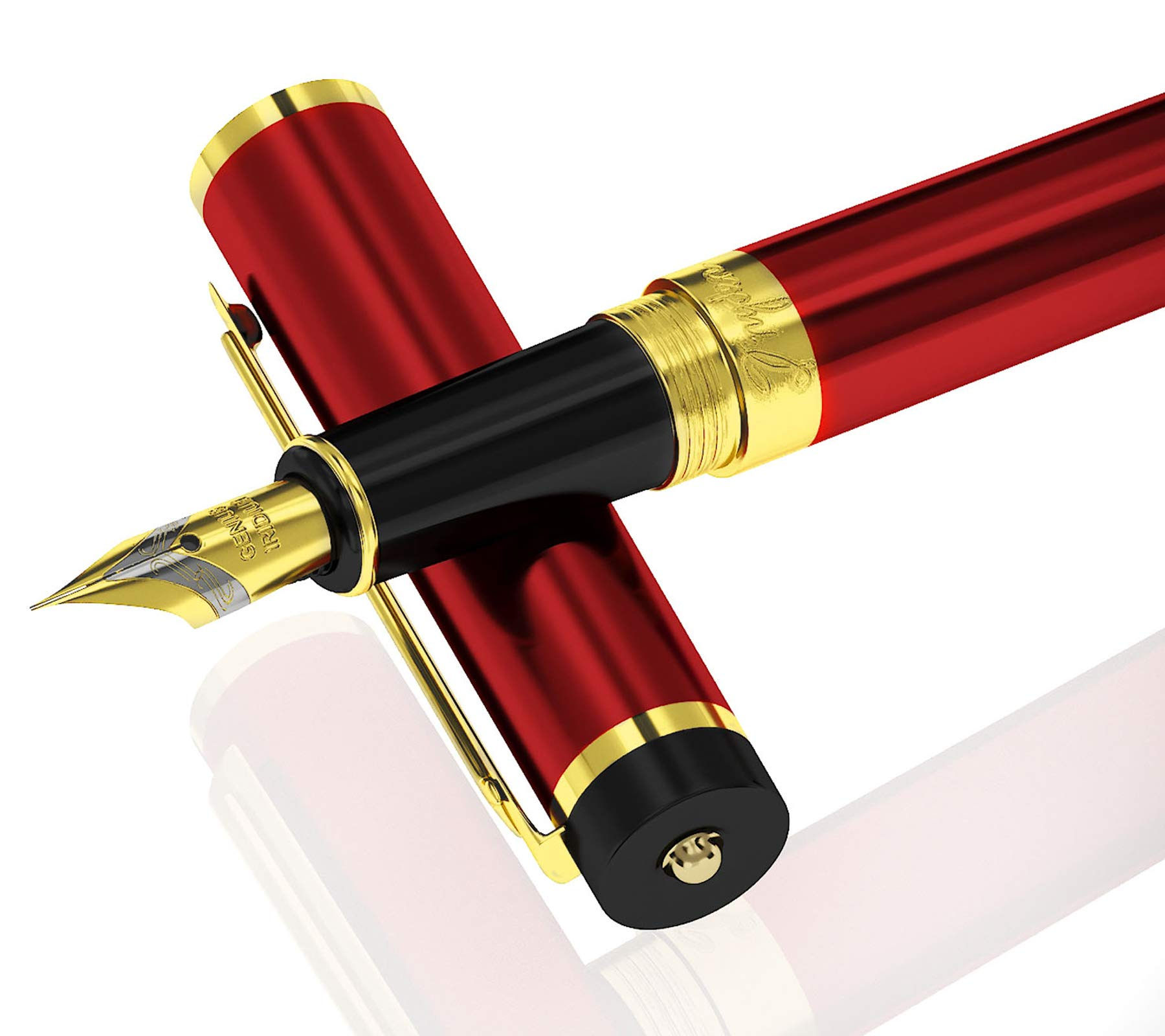 DRYDEN Luxury Fountain Pen with Ink Refill Converter - Smooth & Elegant, Perfect Gift Set for Calligraphy Writing, Signature, Journal, Artist and Professionals [DANGEROUS RED]