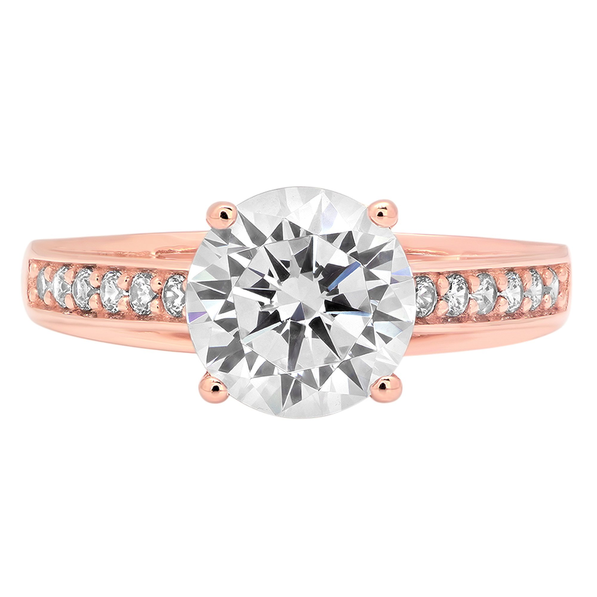2.31ct Brilliant Round Cut Designer Simulated Diamond Accent Solitaire Statement Ring for Women Solid 14k Rose Gold