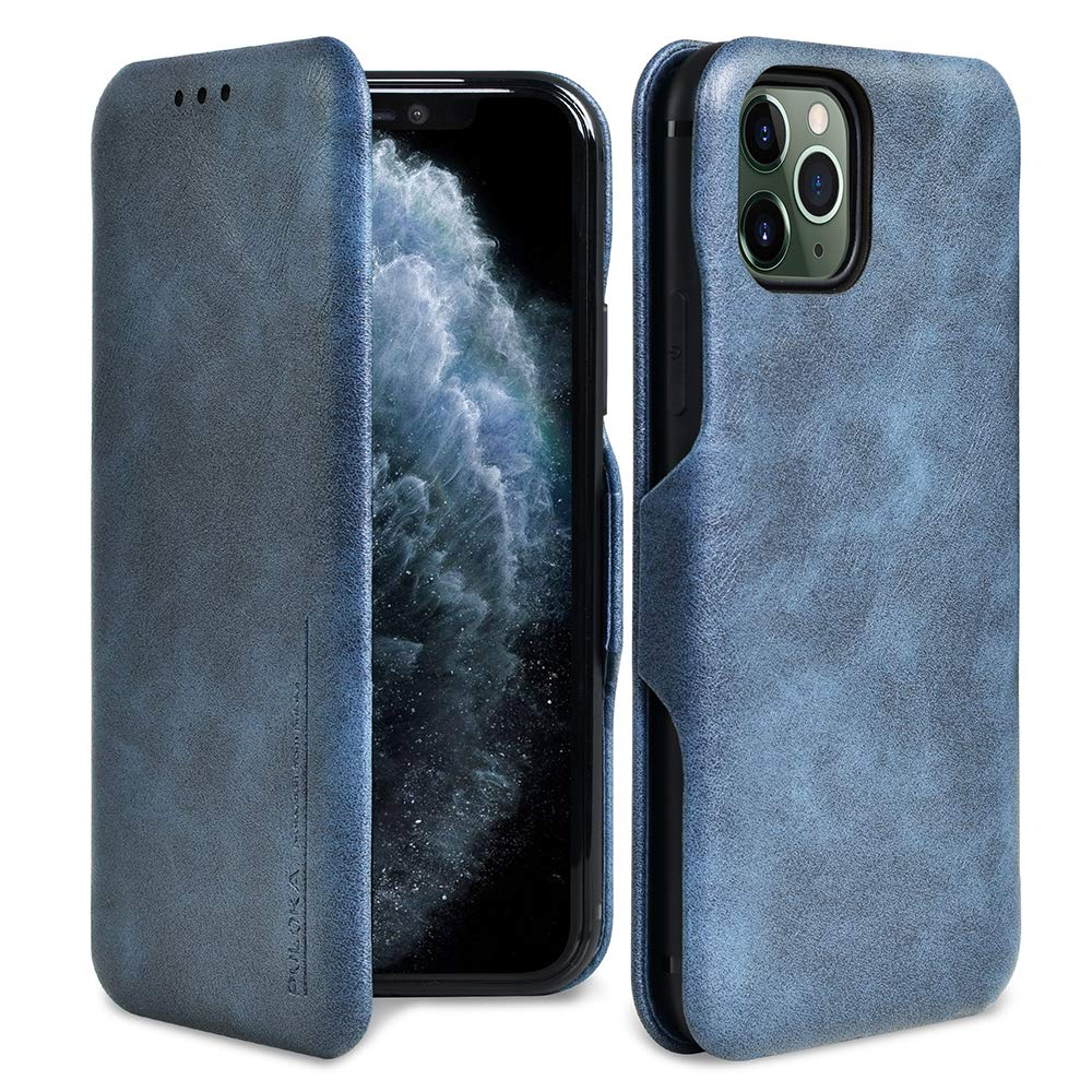 """PULOKA iPhone 11 Pro Max Case Flip with Credit Card Holder Premium Leather Wallet Case Full-Body Protective Magnetic Closure for iPhone 6.5"""" (2019) [Navy Blue]"""