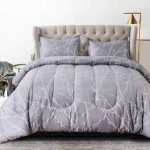 TIFFICO Queen Comforter Set 3pc,All Season Reversible Down Alternative Quilted Duvet Insert, Hypoallergenic Microfiber Filling Bedding Sets in a Bag, Size 90 inch,Grey Gray Branch Printed
