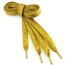 TopTie Metallic Lurex Flat Shoelaces Fashion Bling Shoelaces