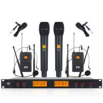 XTUGA A400 Metal receiver 4-Channel UHF Wireless Microphone System with 2 Bodypack and 2HandHled Use for Family Party, Church, Small Karaoke Night (Frequency A)