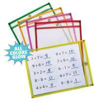 """Pacon Dry Erase Pockets, 5 Assorted Neon Colors, 9"""" x 12"""", 10 Pockets"""