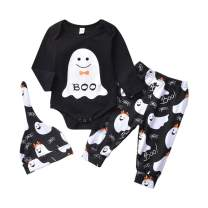 Newborn Girl Boy 1st Haloween Outfit Long Sleeve Boo Baby Rompers Bodysuits Tops Shirt Pants Clothes