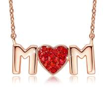 CDE Mom Necklace Love Heart Pendant Necklaces for Women 18K Rose/White Gold Plated Jewelry Gift