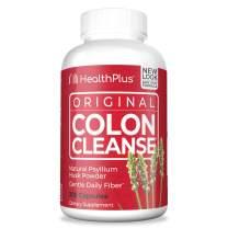 Health Plus Colon Cleanse - Natural Daily Fiber - Gluten Free, Detox, Heart Healthy (200 Capsules, 33 Servings)