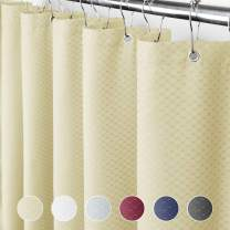 Eforcurtain Modern Fashion Waffle Weave Polyester Bath Curtains Durable Fabric with Rust Proof Metal Grommets, Water Repellent Shower Curtain 72 x 75 Inch Extra Long, Cream
