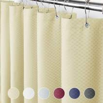 Eforcurtain Modern Water Repellent Waffle Shower Curtain Fabric, Bathroom Curtain Extra Long 72 by 78-Inch, Cream