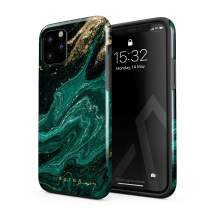 BURGA Phone Case Compatible With iPhone 11 PRO - Emerald Green Jade Stone High Fashion Luxury Gold Glitter Marble Cute For Girls Heavy Duty Shockproof Dual Layer Hard Shell + Silicone Protective Cover
