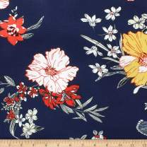 Telio Pebble Crepe Print Floral Navy, Fabric by the Yard