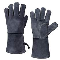 OZERO 932°F Leather Heat Resistant Forge Welding Gloves Grill BBQ Glove with Flame Retardant Long Sleeve and Insulated Cotton for Men and Women (Gray,14-inch)