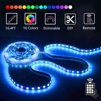 LED Strip Lights with Remote 5M 16.4 Ft 5050 RGB Flexible Color Changing Full Kit with Mini Controller, 12V 2A Power Supply for Home & Kitchen and Indoor Decoration