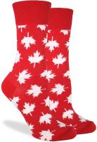 Good Luck Sock Women's Canada Maple Leaf Crew Socks, Red, Shoe Size 5-9