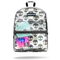 Vibedration All-Access 2 Liter Clear Hydration Backpack, BPA Free Water Pack (Clear Holla Alienz)