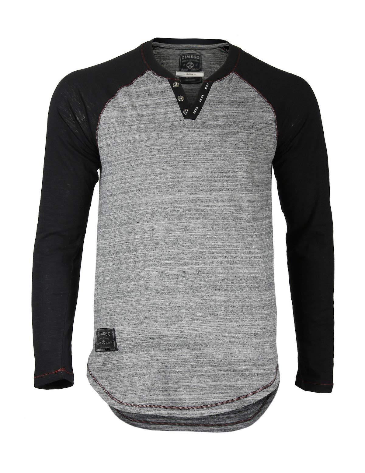 ZIMEGO Men's Long Sleeve Color Block Raglan V Neck Henley Curved Hem Slim Shirts