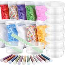 35 Pack Slime Making kit, Including 10 Pack Color Foam Balls, 8 Pcs 4.5 oz Slime Containers, 12 Bottles Glitter Powder, 5 Pcs Glue Mixing Spoons for Slime Making Craft