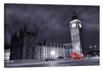 LightFairy Glow in The Dark Canvas Painting - Stretched and Framed Giclee Wall Art Print - Big Ben at Night - Master Bedroom Living Room Decor - 6 Hours Glow - 24 x 16 inch