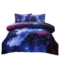 JQinHome Full 3-Piece Galaxies Dark Blue Comforter Sets - 3D Outer Space Themed - All-Season Down Alternative Quilted Duvet - Reversible Design - Includes 1 Comforter, 2 Pillow Shams