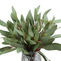 Greentime Artificial Eucalyptus Long Olive Leaf Stem Eucalyptus Spray Faux 13 Inches Eucalyptus Leaves for Vase Bridal Wedding Bouquet Home DIY Crafts Gift Decor (Green)
