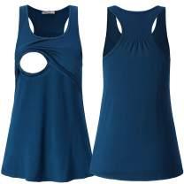 SUIEK Maternity Nursing Tank Tops Breastfeeding Tee Shirt Cami Pregnancy Clothes