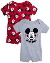 Disney Baby Boys' Mickey Mouse 2 Pack Short Sleeved Romper with Snap Closure (Newborn/Infant)