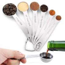 HQOOOIU 18/8 Stainless Steel Measuring Spoons, Set of 6 for Measuring Dry and Liquid Ingredients