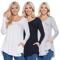 Isaac Liev Women's 3-Pack Long Sleeve Flowy Tunics - Made in the USA