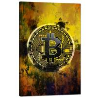 """Bitcoin Inspirational Wall Art Motivational Entrepreneur Pictures Cryptocurrency Trader Hodler Canvas Painting Modern Hodl Crypto Btc Posters Prints Artwork for Office Decorations Framed (24""""Wx36""""H)"""