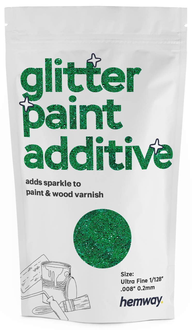 """Hemway Glitter Paint Additive Ultrafine 1/128"""" .008"""" 0.2MM Emulsion/Acrylic Water Based Paints Wall Ceiling 100g / 3.5oz (Emerald Green)"""