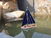 "Hampton Nautical  It Floats Floating Sailboat, 12"", Blue/White"