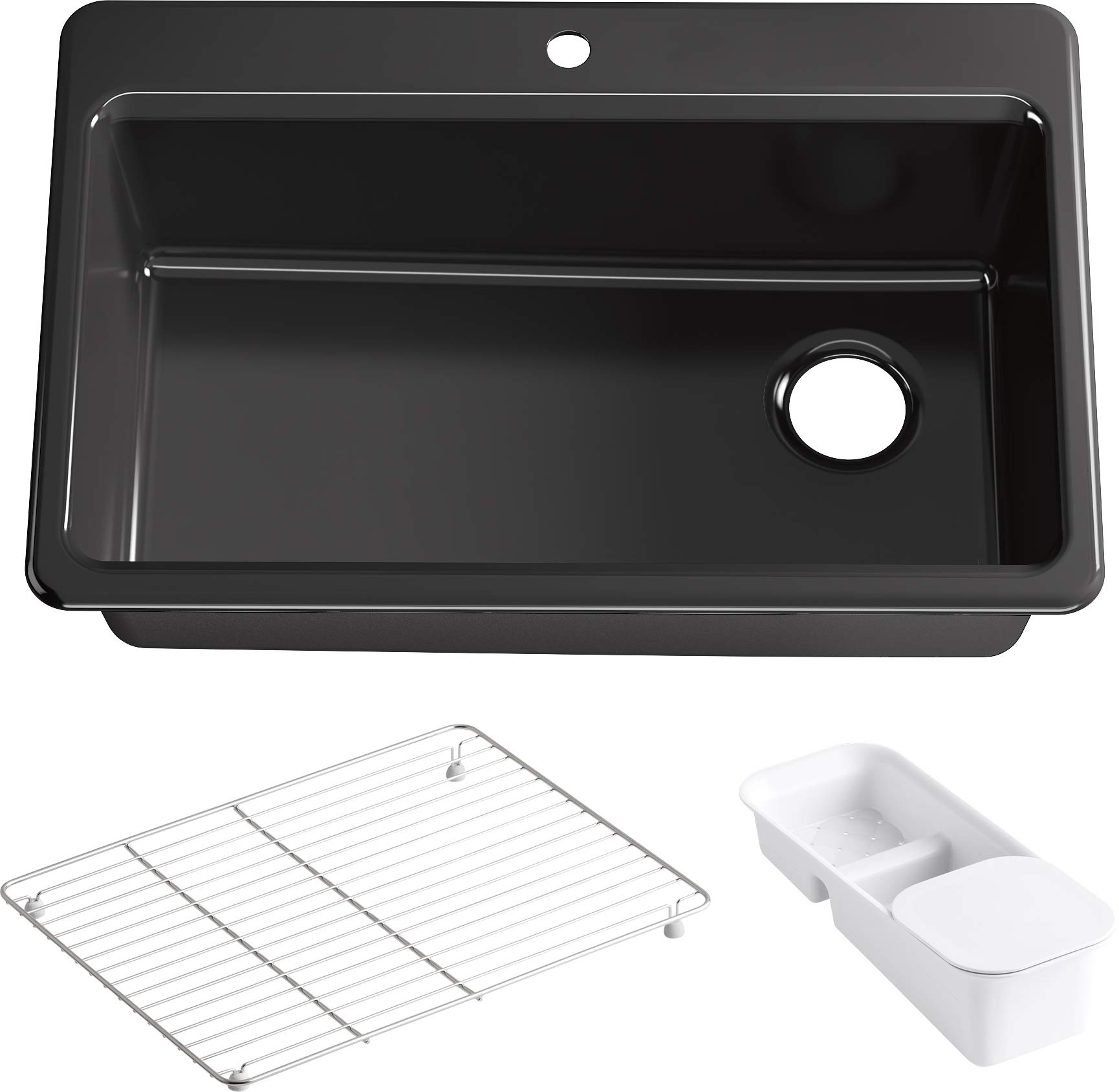Riverby 33 In. x 22 In. Top-Mount Single-Bowl Kitchen Sink with Single Faucet Hole and Accessories, Black Black