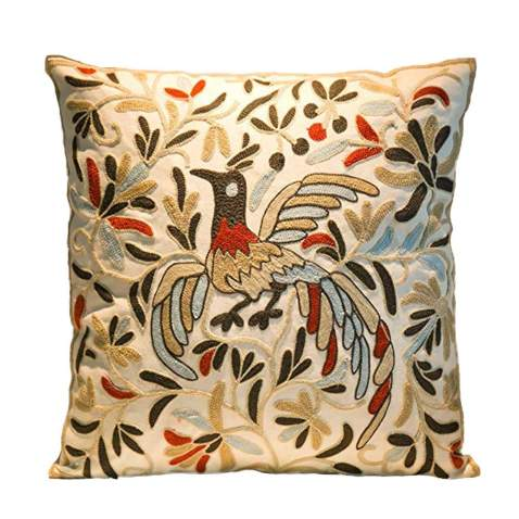Cozy Embroidery Cotton Throw Pillow Cover, Phoenix Design Decorative Square Couch Cushion Pillow Case 18 x 18 Inches, Cover Only