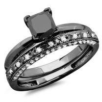 Dazzlingrock Collection 1.50 Carat (ctw) Black Rhodium Plated 10K Black & White Diamond Bridal Ring Band Set 1 1/2 CT, White Gold